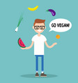 modern lifestyle go vegan young nerd juggling vector image vector image