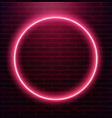 neon circle on brick wall eps 10 vector image