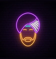 neon sign indian man in national headdress vector image vector image