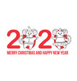 new year and christmas greeting card with numbers vector image vector image