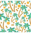 palm tree with coconuts and sun seamless pattern vector image