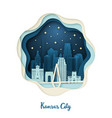 paper art of kansas city origami concept night vector image vector image