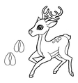 paw print with Deer Coloring Page vector image vector image
