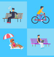 people activities at park vector image