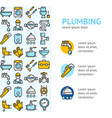 plumbing signs banner vertical with color outline vector image