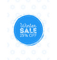 poster winter sale round blue background with vector image vector image