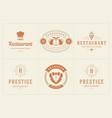 restaurant logos templates set vector image vector image