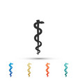 rod of asclepius snake coiled up silhouette icon vector image
