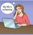 sad girl with laptop pop art vector image