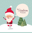 santa claus in snowscape with speech bubble vector image vector image