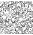 seamless square pattern with funny cartoon vector image