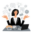 secretary woman quietly meditates in workplace vector image vector image