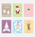 Set graphic cartoon card about merry christ