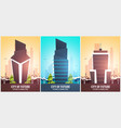 set of flat style banners modern city houses vector image