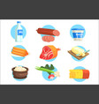 set of fresh farm products colorful stickers with vector image