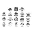 set of vintage car emblems with hand vector image
