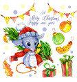 seth christmas and new year mouse with christmas t vector image vector image