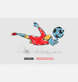 soccer save from goalkeeper outline soccer vector image