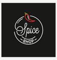 spice shop logo round linear logo chili pepper vector image vector image