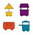 street shop cart icon set color outline style vector image vector image