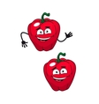 Two happy smiling red bell peppers vector image vector image