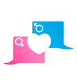 two -square bubble chat pink and blue with a cut vector image