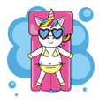 unicorn with sunglasses and swimsuit vector image