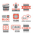 various logotypes for tv channels and vloggers vector image