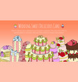wedding delicious cake set banners vector image vector image
