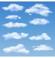 White clouds isolated on transparent blue vector image vector image