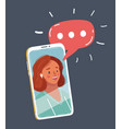young beautiful woman face speak on phone screen vector image vector image