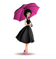 young women with umbrella vector image vector image