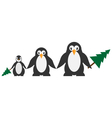 Penguins family isolated on white vector image