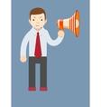 Businessman talking into a megaphone vector image