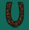 letter u with golden floral decor vector image