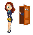 a woman in a business suit is hired on job vector image vector image