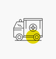 ambulance truck medical help van line icon vector image