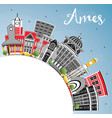 ames iowa skyline with color buildings blue sky vector image