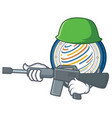 army factom coin character cartoon vector image vector image