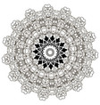 baroque black and white floral round lace mandala vector image