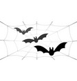 bat icons set wings black web silhouette vector image