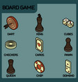 board game color outline isometric icons vector image vector image