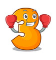 boxing character paper cut number three letter vector image