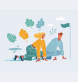 business man and woman in starting position vector image