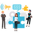 businessman and businesswoman with puzzle vector image vector image