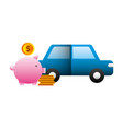 car sedan with pig money silhouette isolated icon vector image
