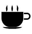 cup with hot tea or coffee the black color icon vector image