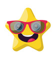 cute yellow star emoji with pink sunglasses on a vector image vector image