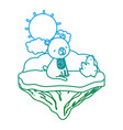 degarded line nice bear seated in the float island vector image vector image