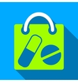 Drugs Shopping Bag Flat Long Shadow Square Icon vector image